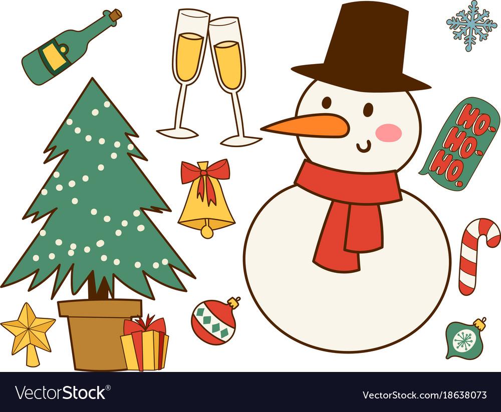 Christmas greeting card stickers symbols