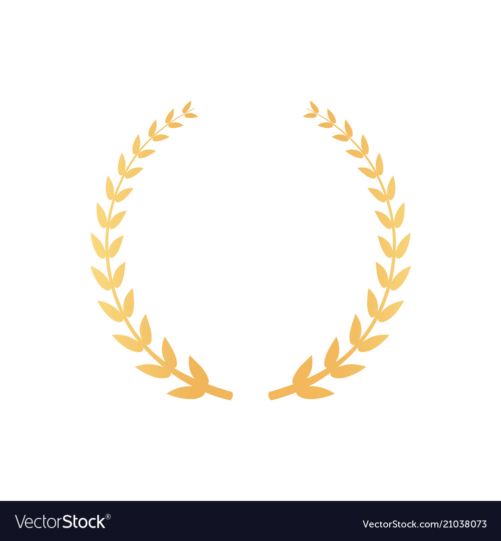 Emblem made of laurel branches golden leaves icon vector image
