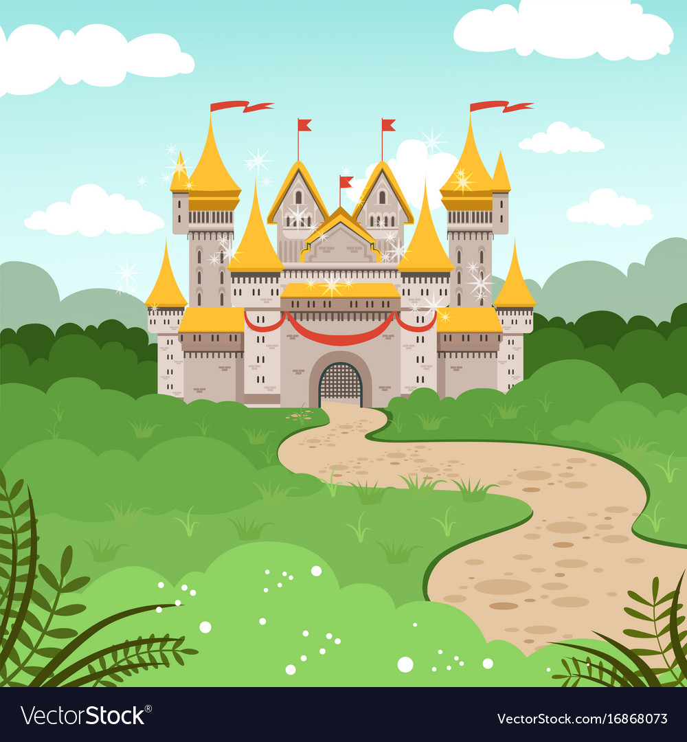 Fantasy landscape with fairytale castle