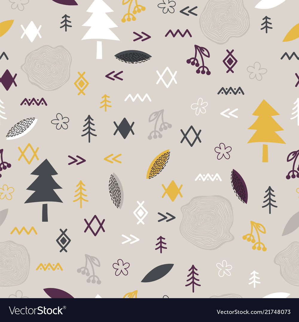 Hand drawn tribal seamless pattern with forest