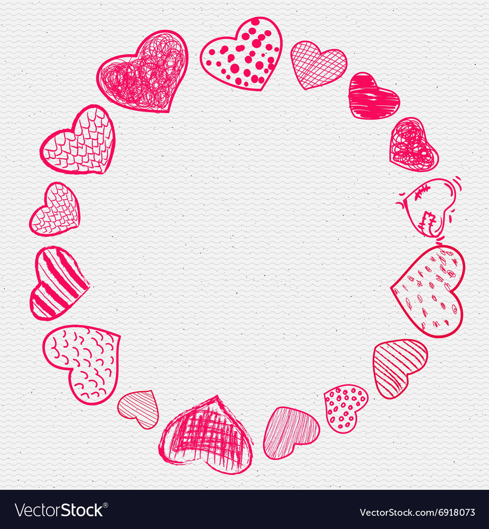 Set of doodle hearts frame