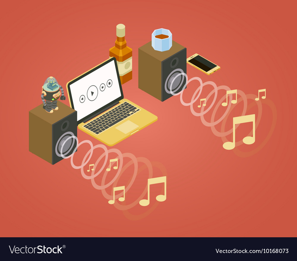 Sound wave from the two speakers note icons and