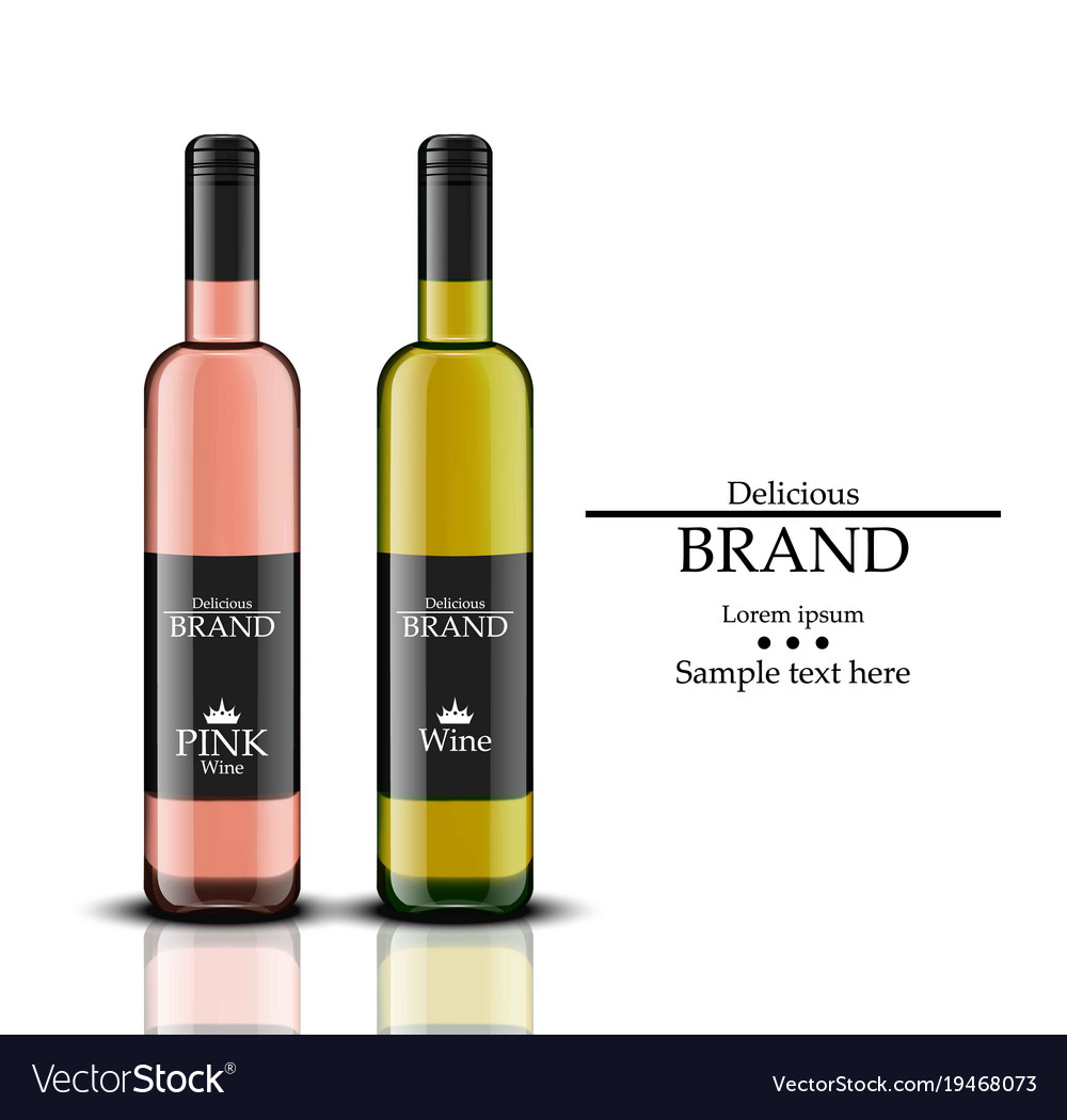 Wine bottles realistic white and rose vector image