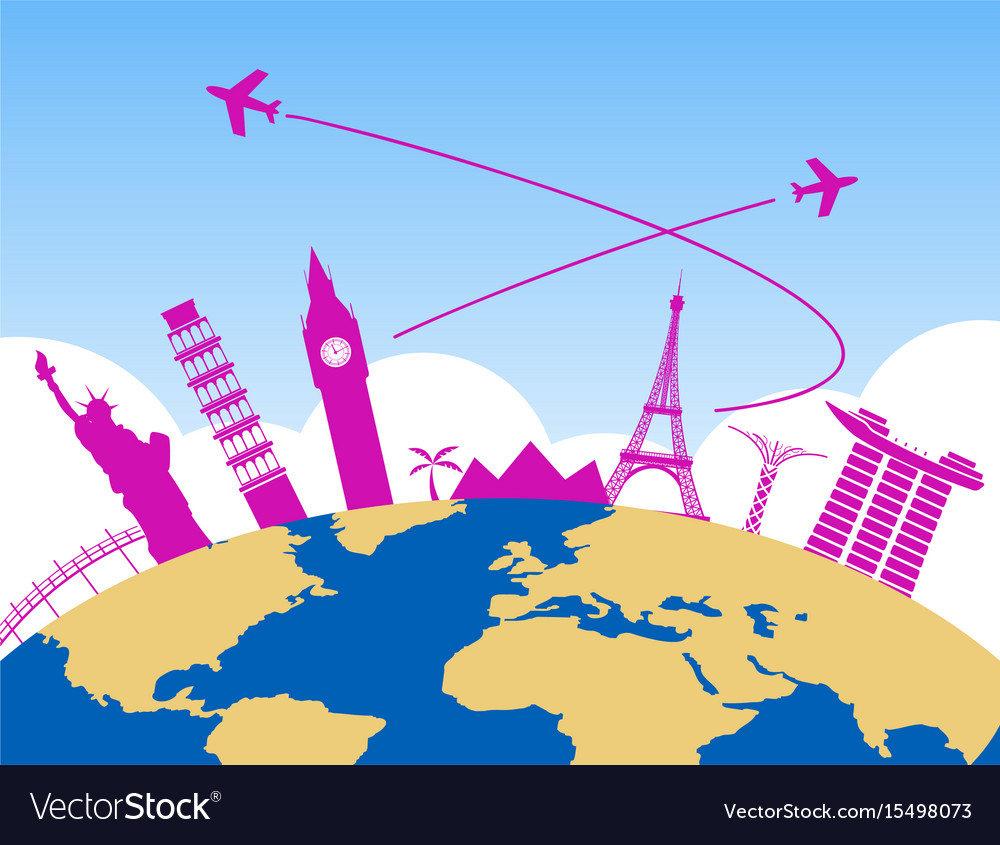 Worldwide air travel background vector image