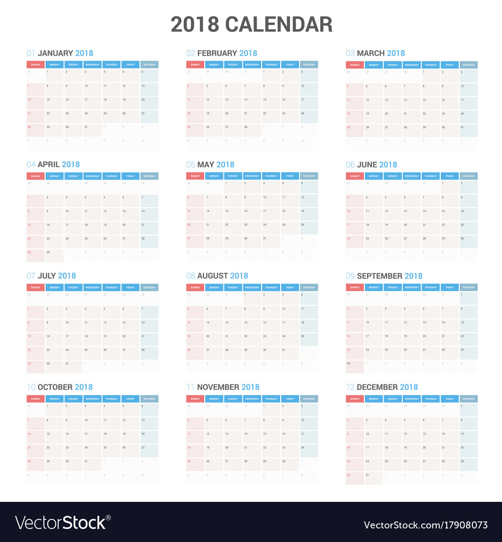 Yearly Wall Calendar Planner Template For Vector Image - Yearly planner template