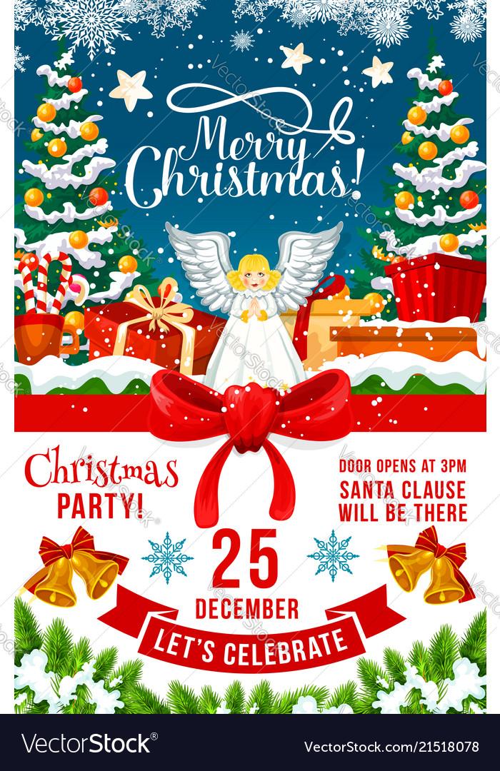 Christmas Party Invitation.Christmas Party Invitation Poster Of Xmas Holiday