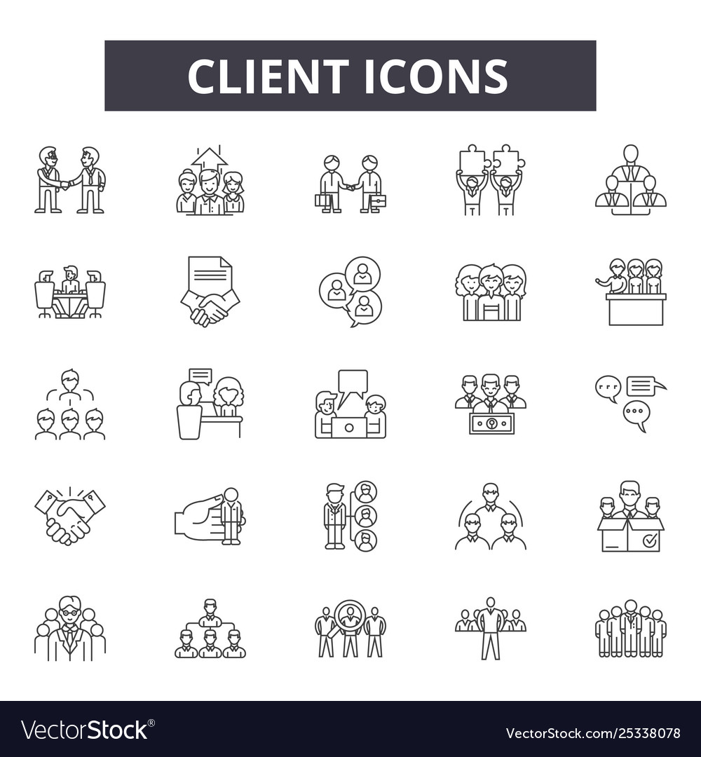 Client concept line icons signs set