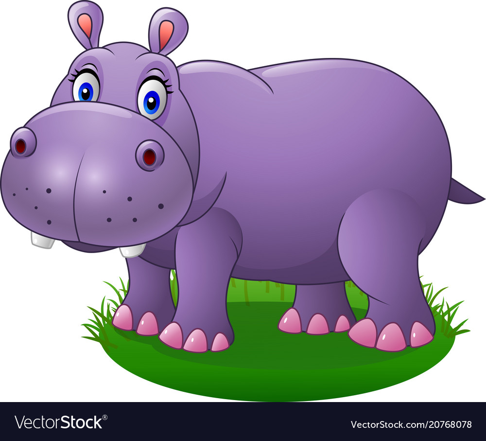 Cute Cartoon Hippo On Grass Royalty Free Vector Image