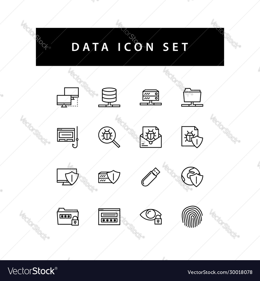 Data sharing icon set with black color outline