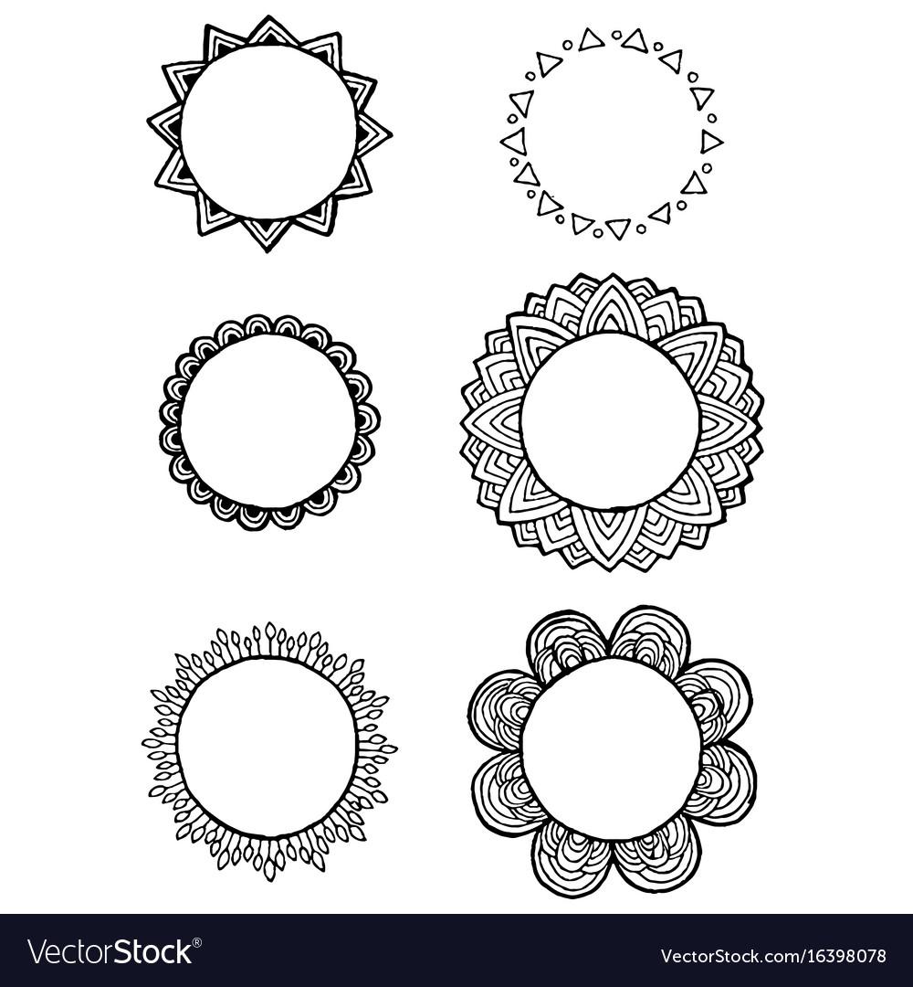 Design of vintage mandala doodle elements frames