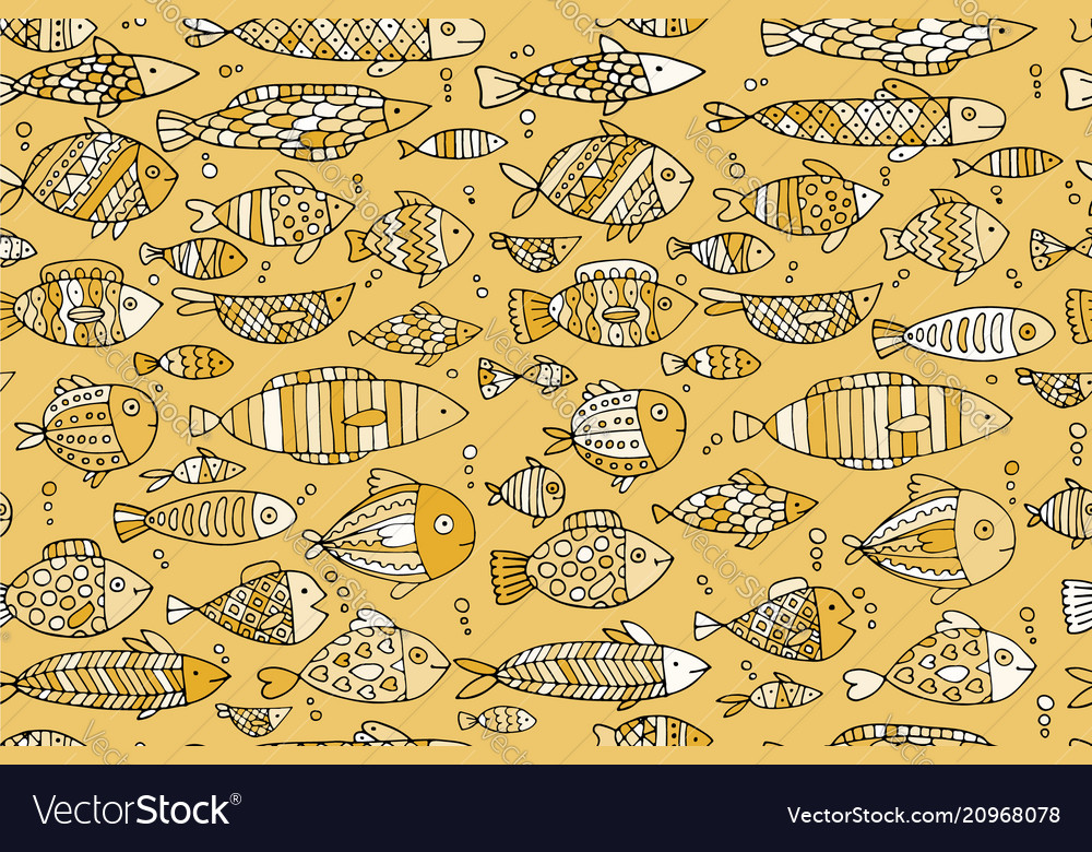 Golden fish seamless pattern sketch for your vector image