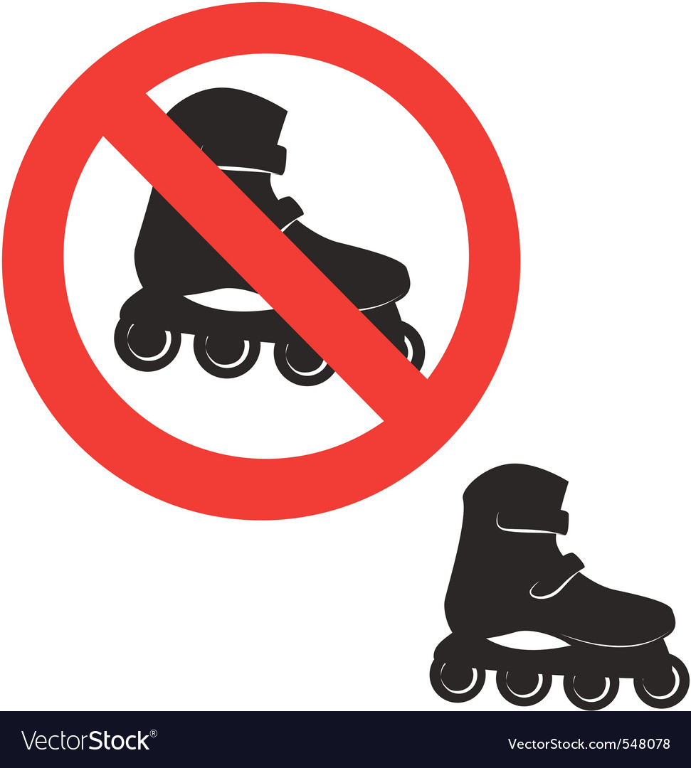 Prohibited sign roller skate icon vector image