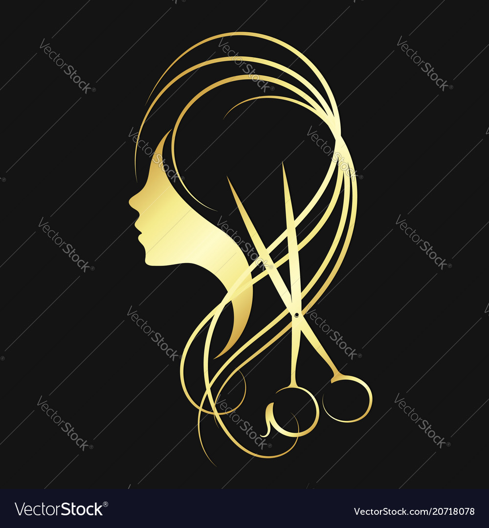 Scissors and a girl of gold color