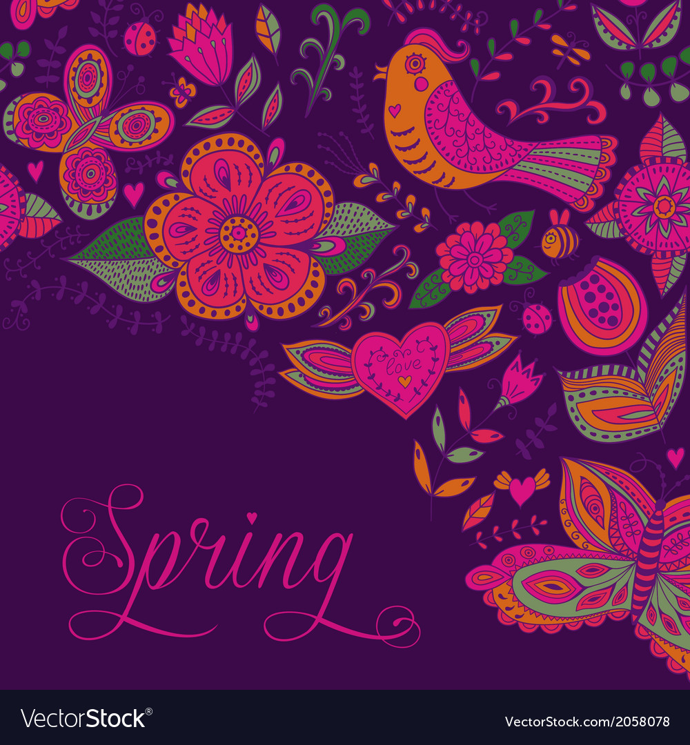 Spring coming card Floral background spring theme