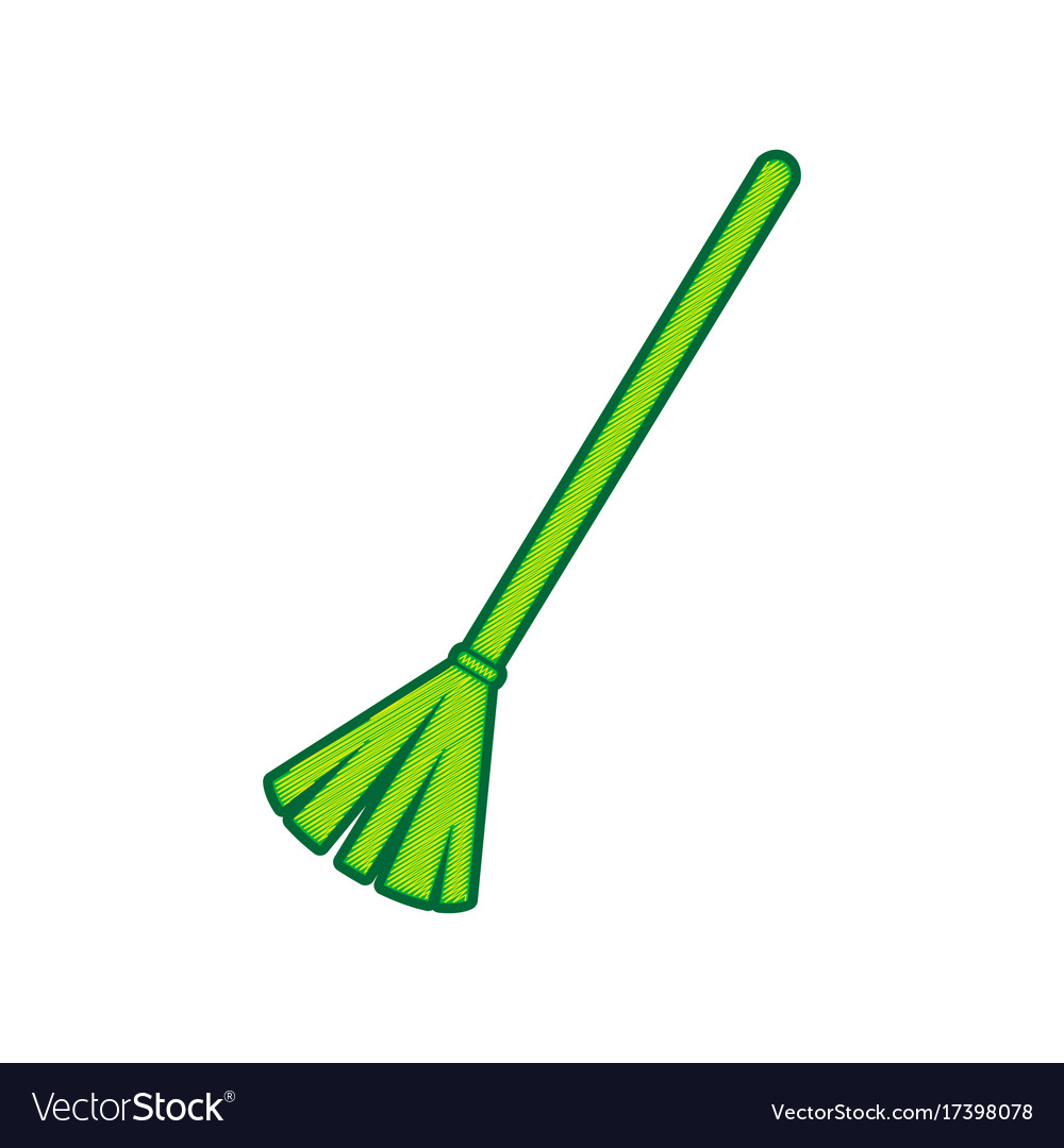 Sweeping broom sign lemon scribble icon