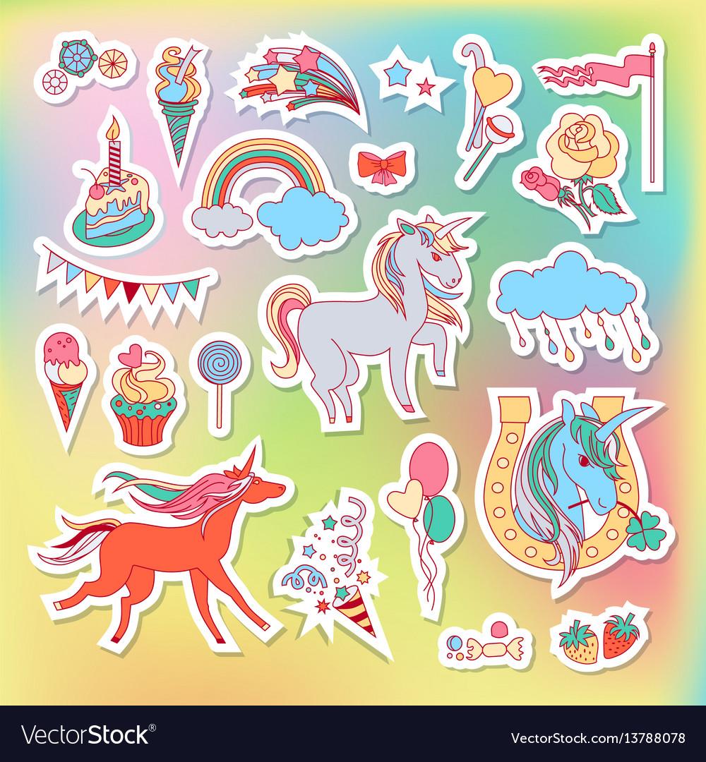 Unicorn multicolor stickers with rainbow unicorn