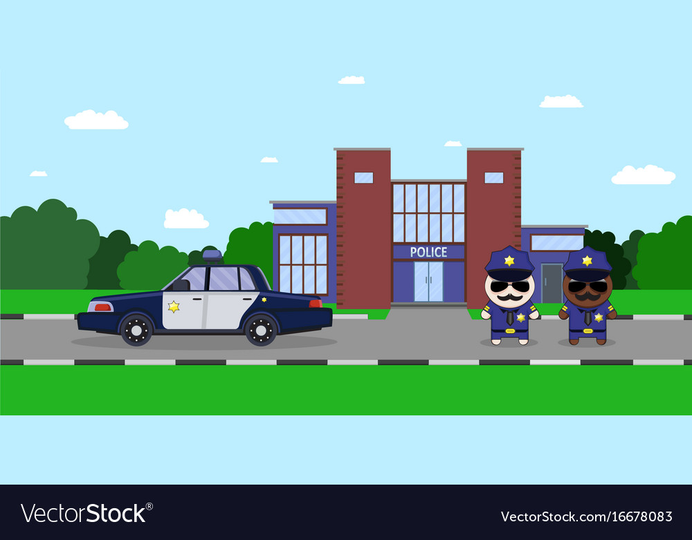 American police officers with police car and the