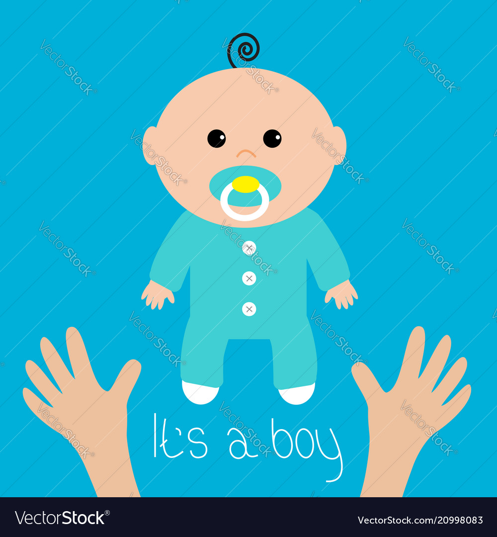Baby Shower Card Its A Boy Two Human Hands Mother Vector Image