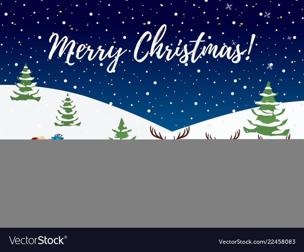 Cartoon sleigh with bag of gifts reindeers