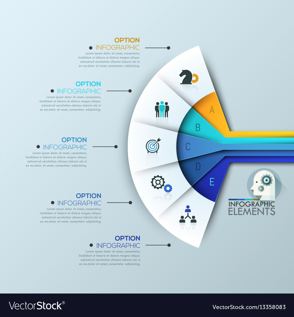 creative infographic design layout 5 connected vector image