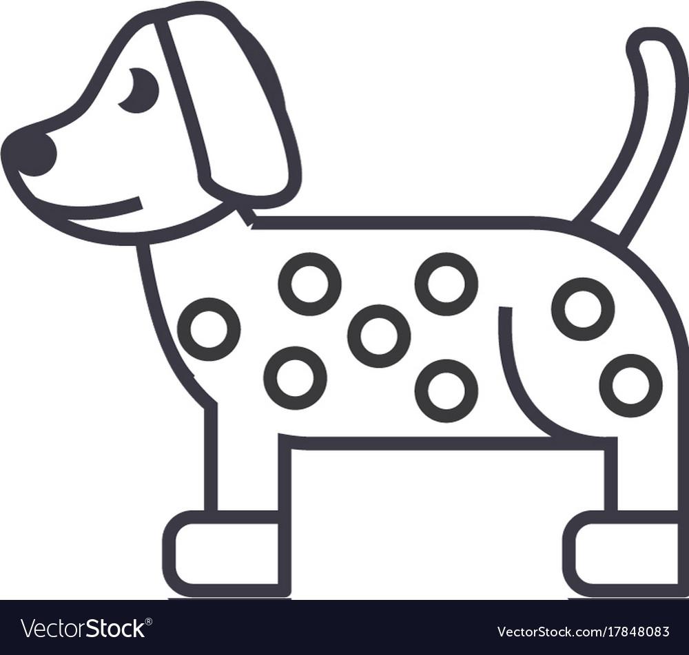 Dog dalmatian line icon sign