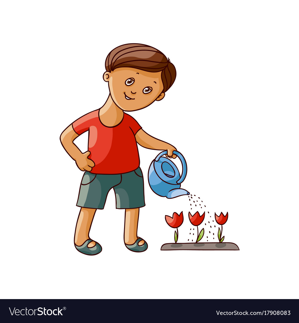 Flat boy watering tulip flower isolated