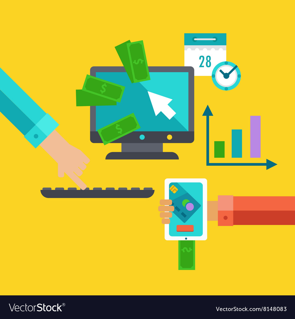 Flat Concept For Exchange And Marketing Royalty Free Vector