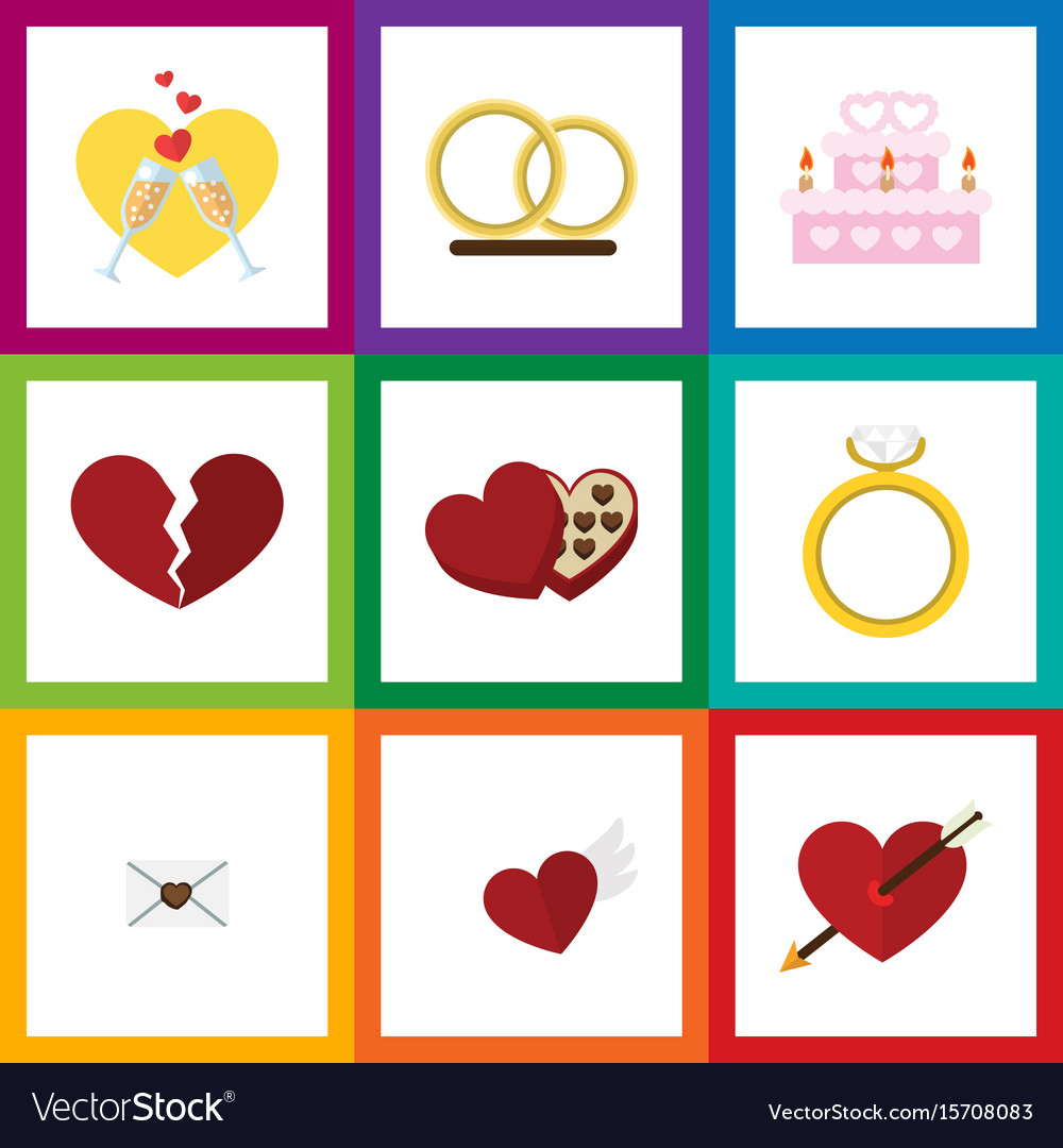 Flat icon amour set of engagement patisserie vector image