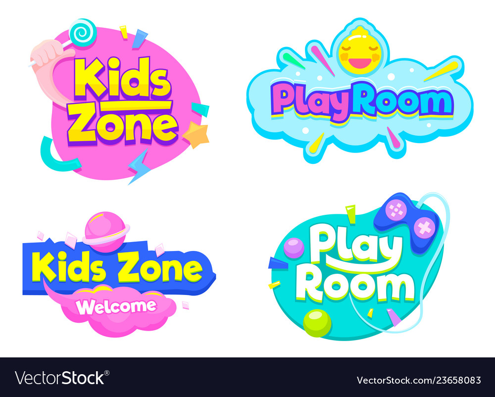 Kids zone play room label text banner sign set