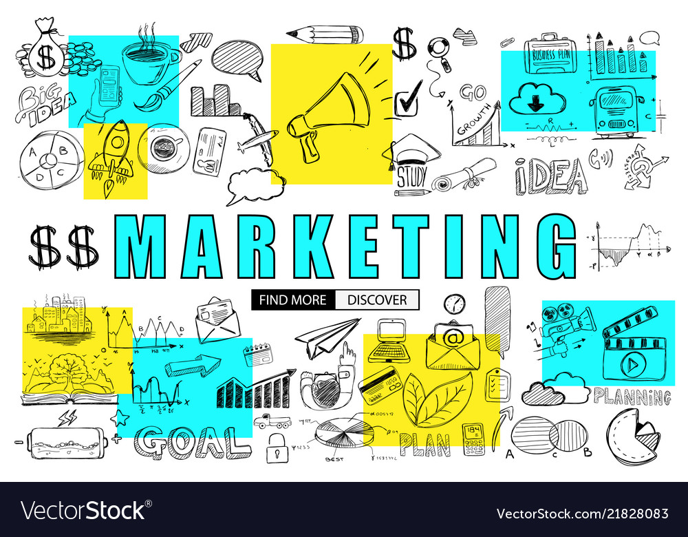 Marketing business concept with doodle design