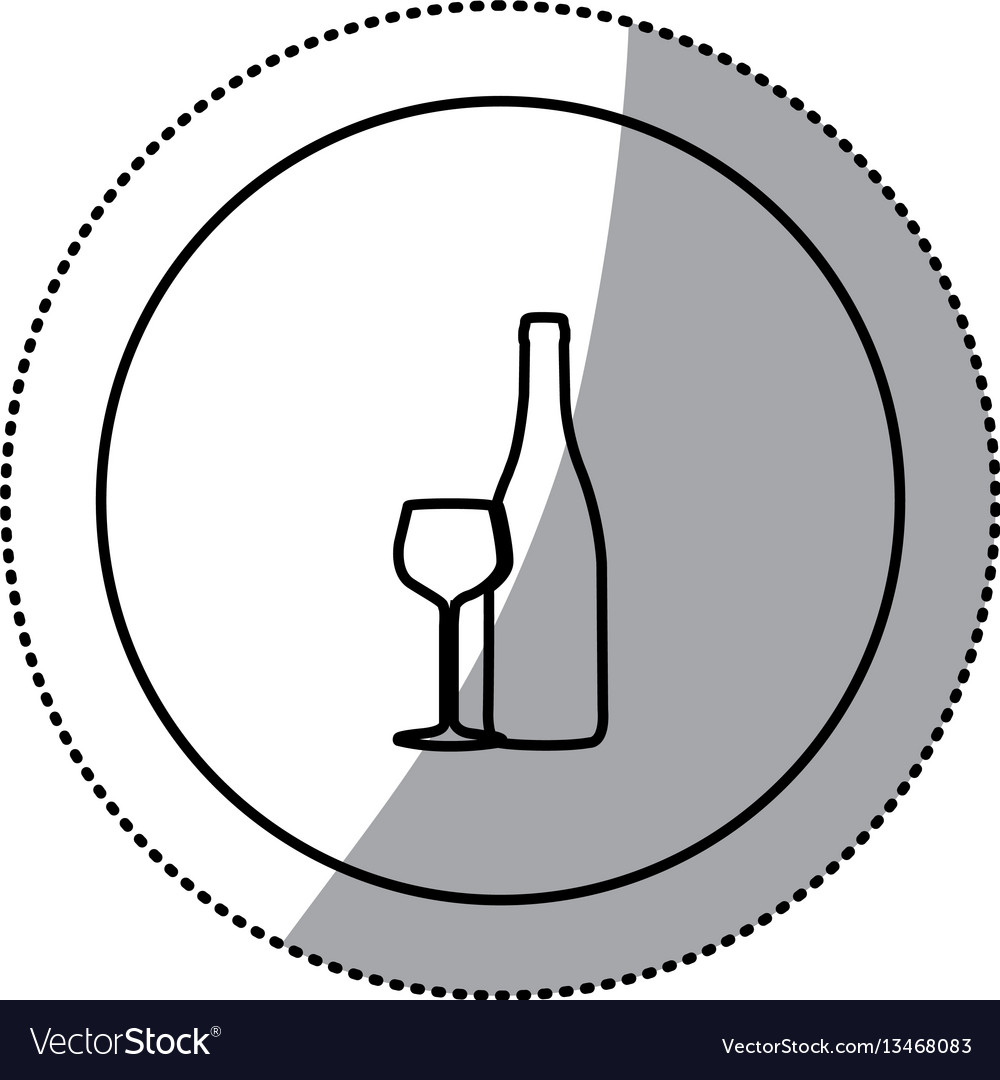 Silhouette emblem wine bottle with glass icon