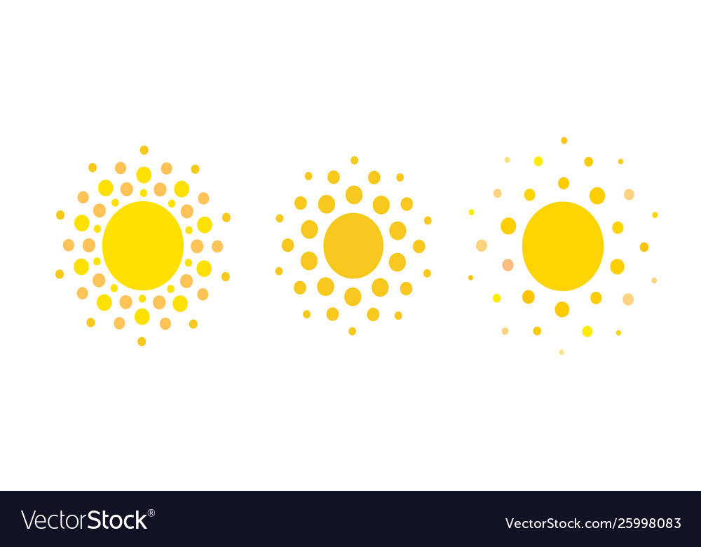 Sun dots icons summer rest sign travel agency or