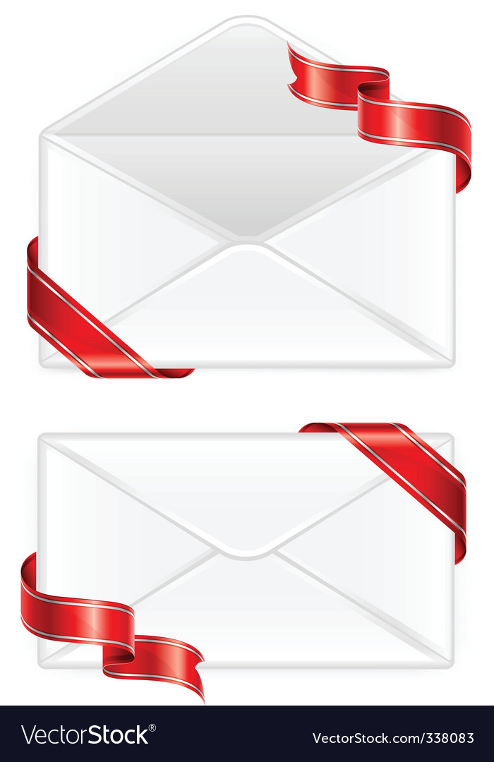 Two envelopes with ribbon
