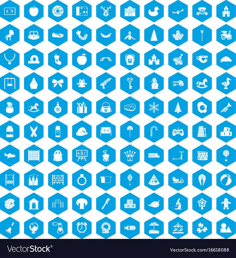 100 nursery school icons set blue
