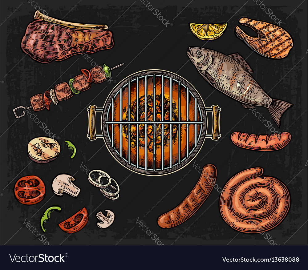 Barbecue grill top view with charcoal mushroom
