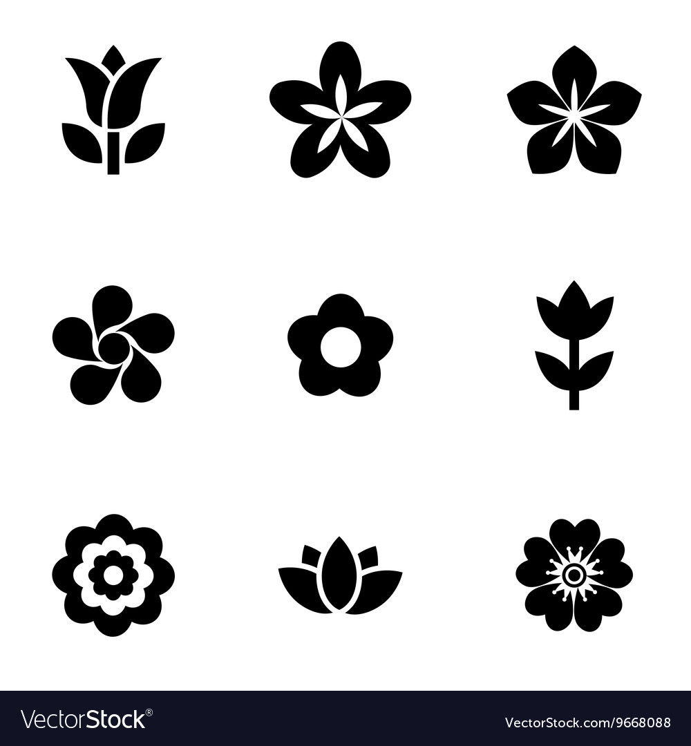 Black flowers icon set