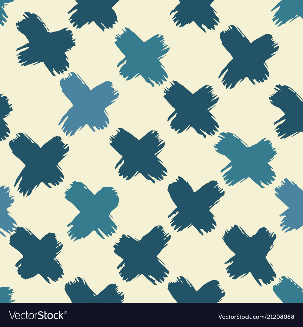 Cross brush symbol vintage tropical blue green
