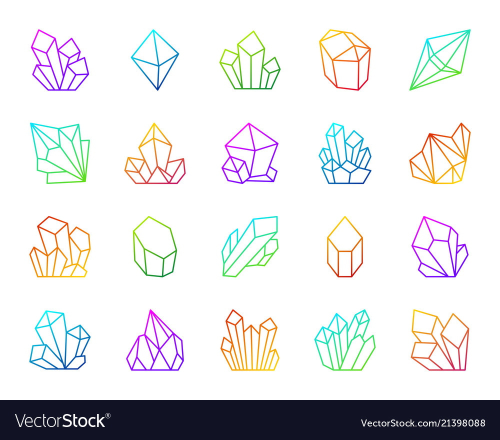 Crystal simple color line icons set