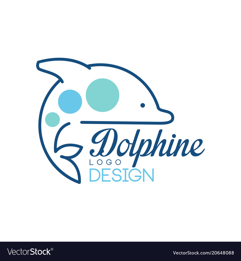 Dolphine logo design abstract emblem with dolphin