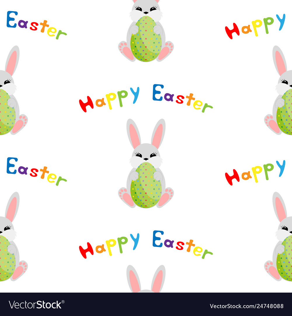 Easter bunny with egg seamless