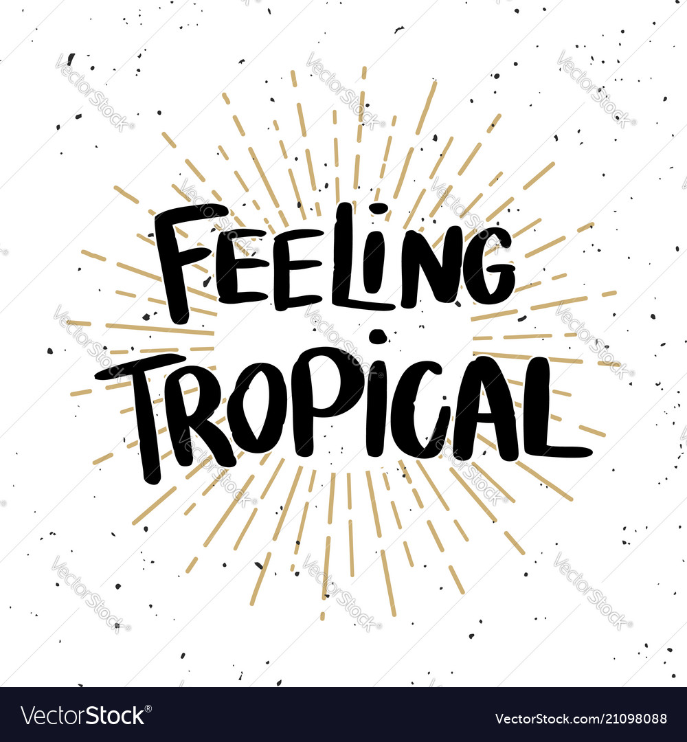 Feeling tropical lettering phrase on light