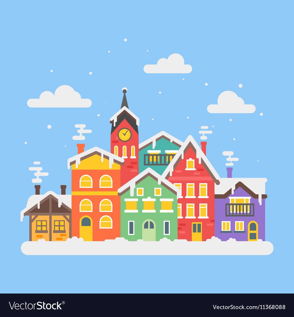 Flat style of christmas winter city