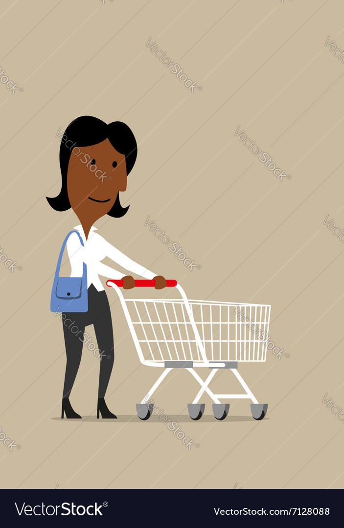 Happy businesswoman with shopping cart in store vector image