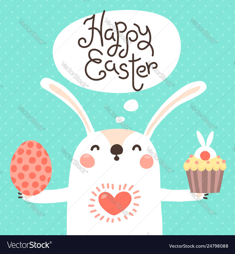 Happy easter card with cute bunny white rabbit
