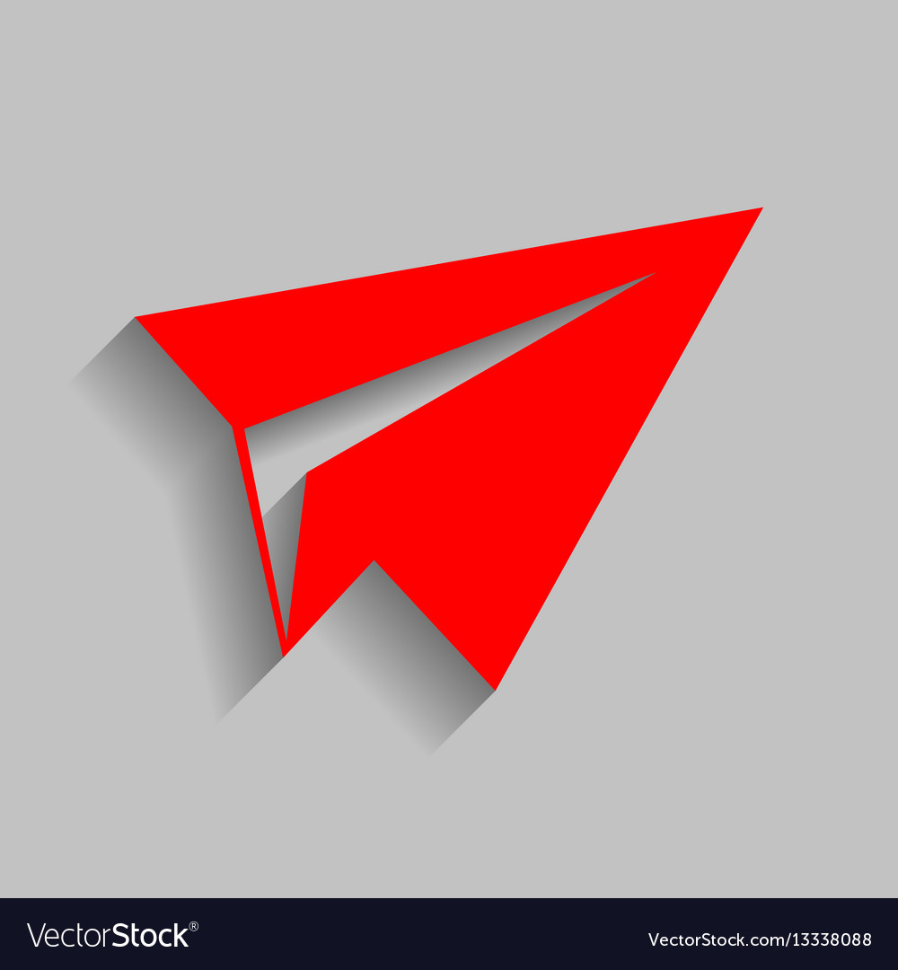 Paper airplane sign red icon with soft