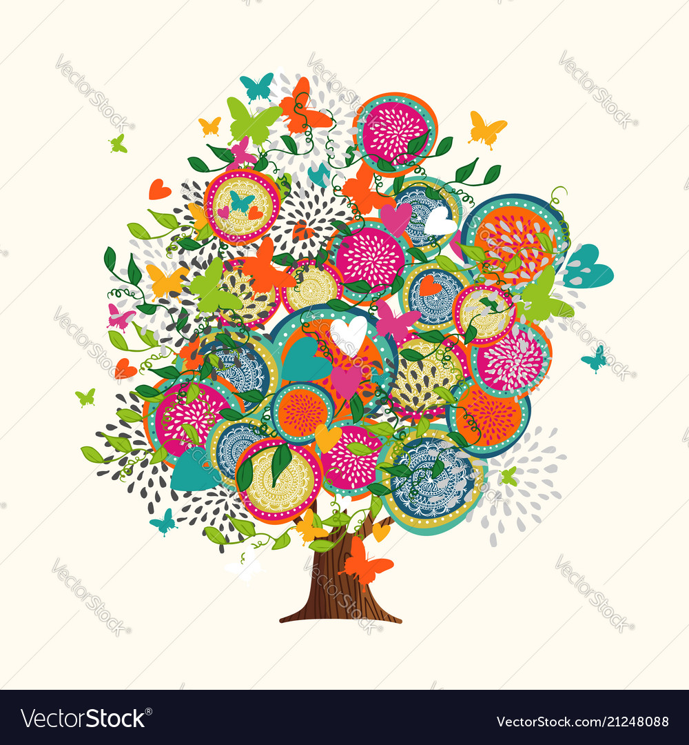 Spring tree concept made hand drawn flowers