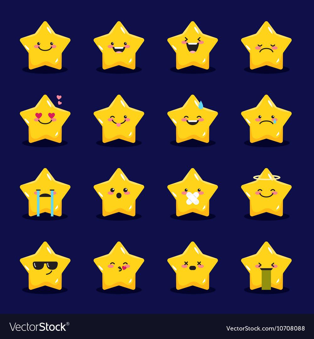 Star emoticons collection Cute emoji set