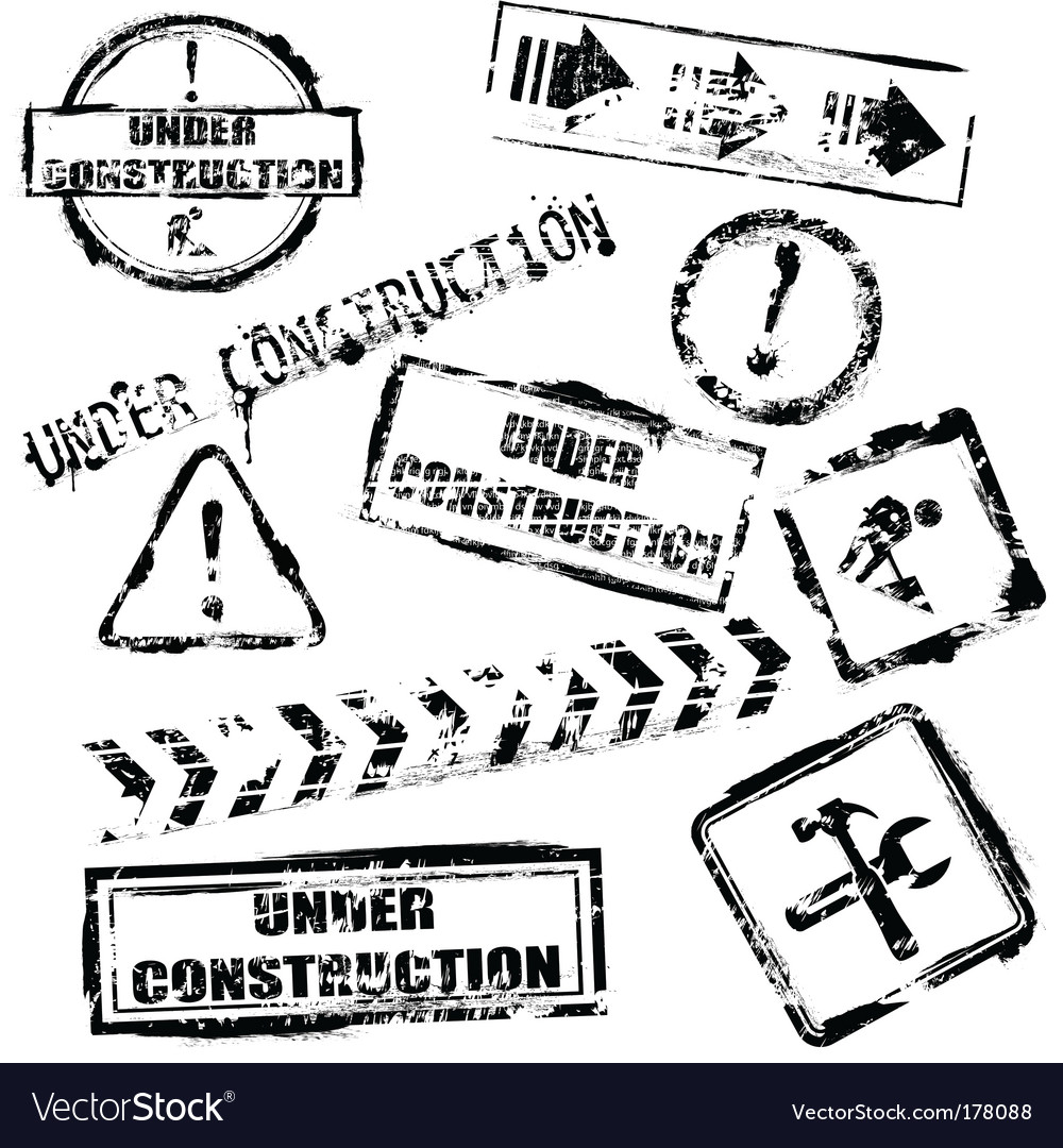 Under construction stamps vector image