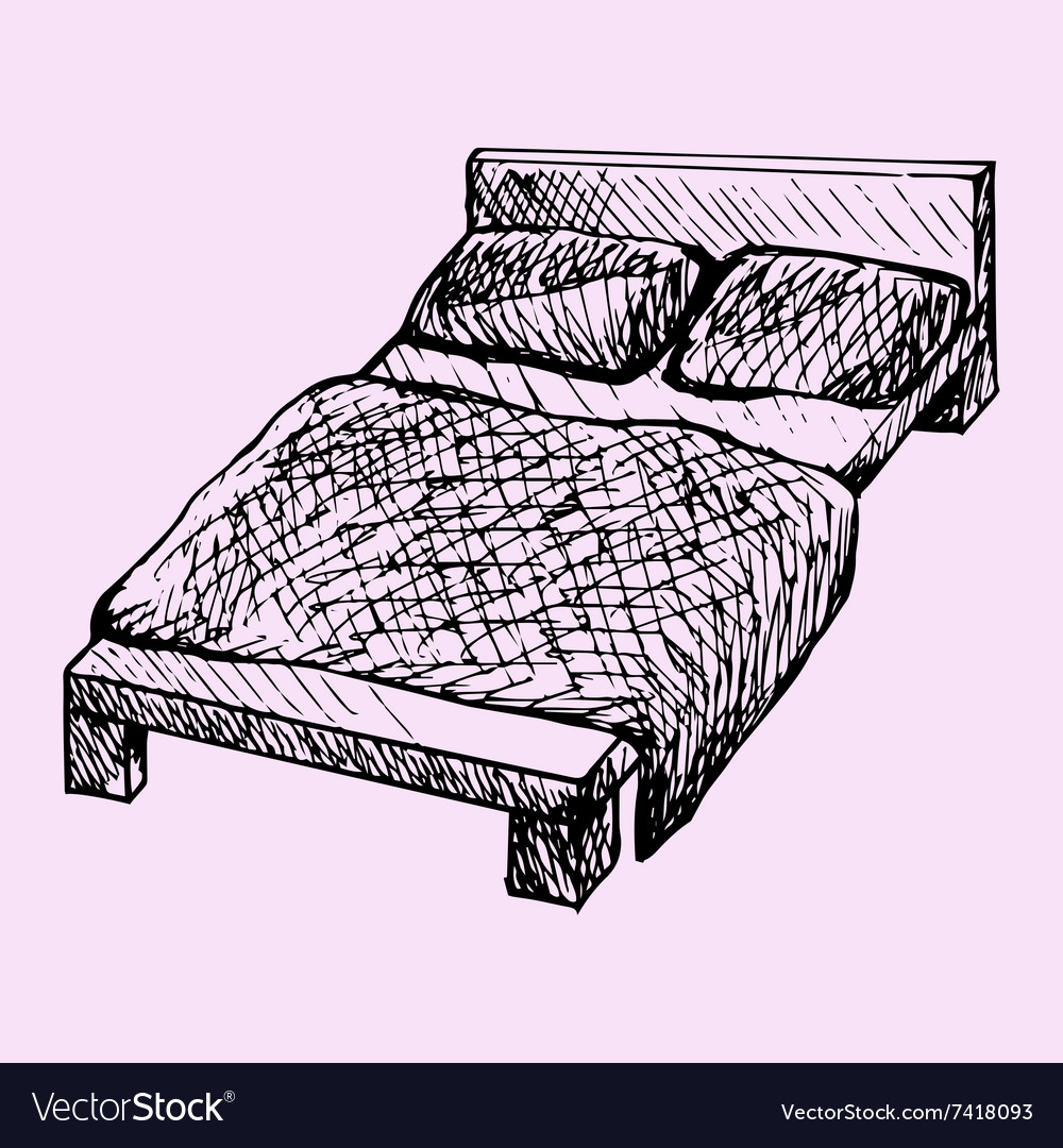 Bed pillows blanket vector image