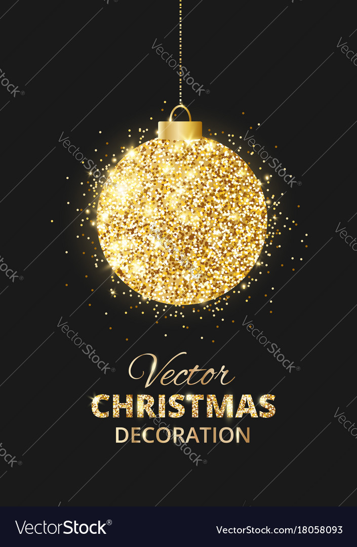 Black and gold christmas background with glitter